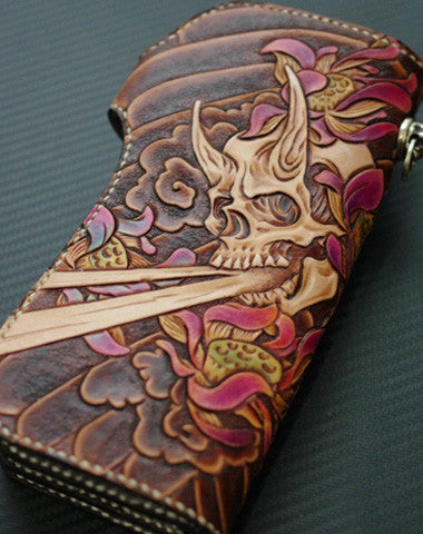 HANDMADE BIKER WALLET VINTAGE HAND PAINTING SKULL FLOWER LEATHER BIKER LONG WALLET FOR MEN