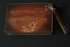 Handmade men clutch vintage hand painting carved Sakyamuni leather clutch bag for men