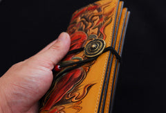 Handmade biker wallet yellow color carved thunder god leather long wallet for men