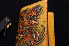 Handmade biker wallet yellow color carved Dance Tonlion leather long wallet for men