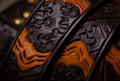 Handmade god hand  Custom personalized gift Leather tooled men brown belt