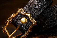 Handmade floral gift Leather tooled men vintage black belt