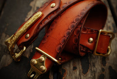 Handmade adjustable cavalry gift Leather tooled men brown black belt