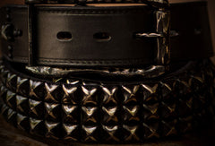 Handmade Custom personalized punk rivet Leather men White black belt