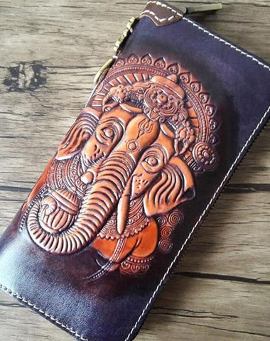 HANDMADE LEATHER GANESHA TOOLED MENS LONG WALLET COOL LEATHER WALLET CLUTCH WALLET FOR MEN