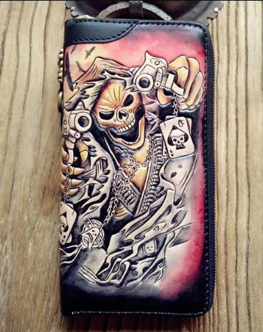 HANDMADE LEATHER MENS CLUTCH WALLET COOL SKULL GHOST RIDER TOOLED CHAIN WALLET BIKER WALLETS FOR MEN