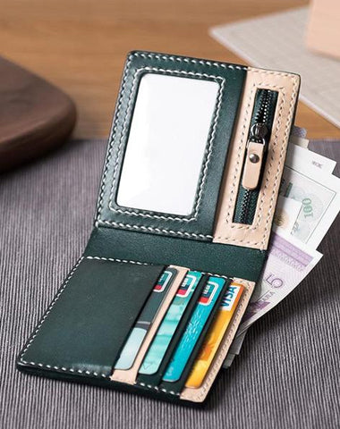 Handmade Leather Mens Cool Slim Leather Wallet Men Small Short Wallets Bifold for Men Women