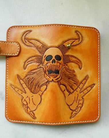Handmade Leather Skull Devil Mens Chain Wallet Biker Wallet Cool Leather Wallet Long Tooled Wallets for Men