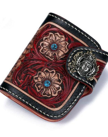 Handmade Leather Small Tooled Floral Mens billfold Wallet Cool Chain Wallet Biker Wallet for Men