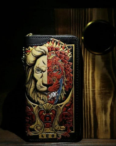 HANDMADE LEATHER TOOLED CONSTELLATION LEO BIKER WALLET MENS COOL CHAIN WALLET TRUCKER WALLET WITH CHAIN