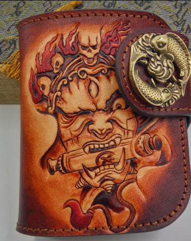 HANDMADE LEATHER TOOLED MAHĀKĀLA MENS CHAIN BIKER WALLET COOL LEATHER WALLET SMALL WALLETS FOR MEN