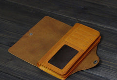 Handmade Men long leather wallet men multi cards vintage tan black wine wallet for him