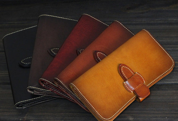 Handmade Men long leather wallet men vintage tan brown coffee wallet for him