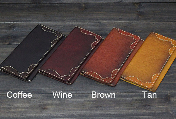 Handmade Men long leather wallet men vintage brown coffee tan wine wallet for him