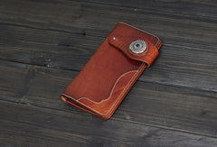 Handmade Men long leather wallet men vintage tan brown coffee wine wallet for him