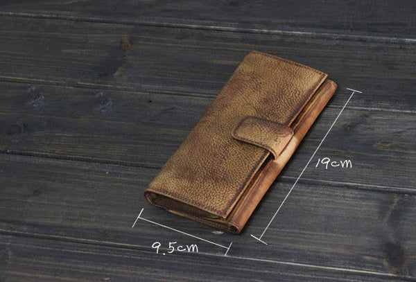 Handmade Men long leather wallet men card slots vintage brown gray wallet for him
