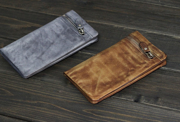 Handmade Men long leather wallet clutch men vintage gray brown wallet for him