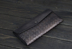 Handmade Mens long leather wallet multi card slots vintage brown gray wallet for men