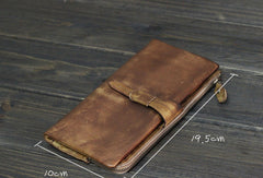 Cool Mens long leather wallet Vintage Long Wallets for Men Bifold Wallets