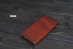 Handmade Men long leather wallet men vintage brown wallets for him