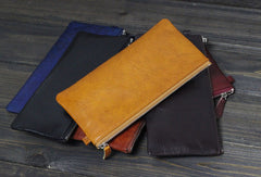 Handmade Men long leather wallet men vintage brown coffee blue wallet for him