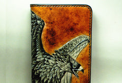 Handmade Long leather wallet men eagle tooled carved long wallet for him