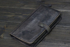 Cool Mens long leather wallets Vintage Long Wallets for Men Trifold Wallet