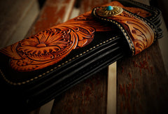 Handmade leather biker trucker wallet leather chain men floral Black Carved Tooled wallet
