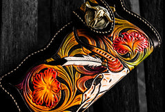 Handmade leather biker trucker wallet black skull floral leather chain men Carved Tooled wallet
