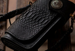 Handmade leather biker chain trucker wallet leather men Black snake skin Tooled wallet