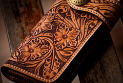 Handmade leather biker trucker wallet brown floral leather chain men Carved Tooled wallet