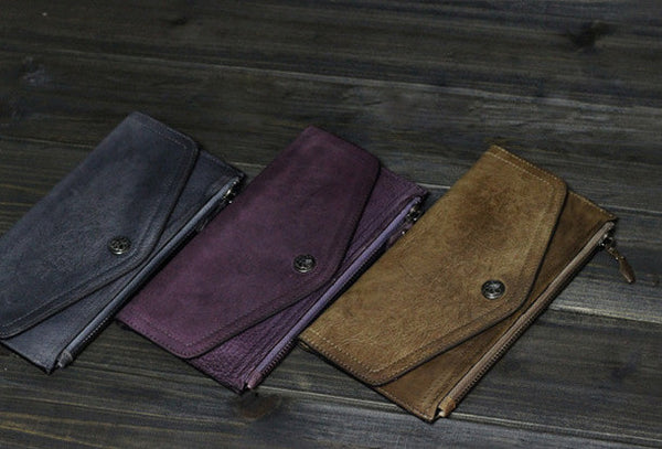 Handmade Men long leather wallet clutch men envelop vintage gray brown wallet for him