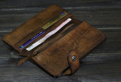 Handmade Men long leather wallet clutch men vintage brown gray wallet for him