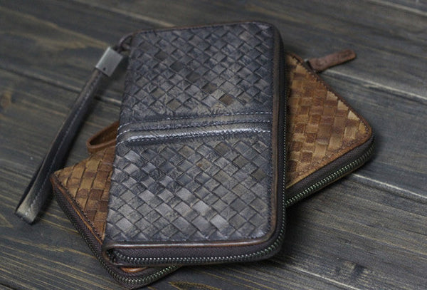 Handmade Men long leather wallet clutch men braided vintage gray brown wallet for him