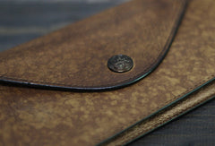 Handmade Men long leather wallet clutch men envelop vintage gray multi cards wallet for him