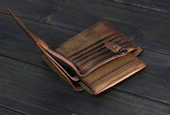 Handmade Men small leather wallets men vintage brown gray billfold wallet for him