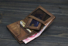 Handmade Men Small leather wallet men vintage brown gray short wallet for him