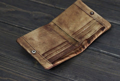 Handmade Men leather small wallet men vintage brown gray short wallet for him