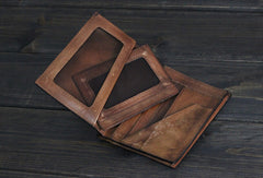 Handmade Men Small leather wallet men vintage brown gray billfold wallet for him