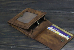 Handmade Men short leather wallet men vintage gray brown card wallet for him