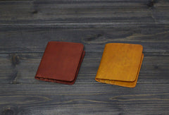 Handmade Men short leather wallet men vintage Wine Yellow card wallet for him