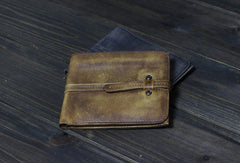 Handmade Men small leather wallet men vintage brown gray billfold wallets for him