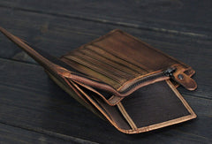 Handmade Men short leather wallet men vintage brown card wallet for him