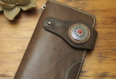Handmade biker leather wallet with chain brown coffee Long wallet purse for men