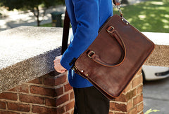 Cool Leather mens Briefcase Vintage Business Briefcase laptop Briefcase for Men