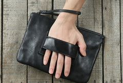 Cool Leather large wristlet wallet leather men zipper clutch wallet for men