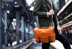Handmade leather men messenger Bag Cool shoulder laptop Vintage Bags