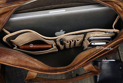 Cool leather mens large travel bag Vintage Briefcase Shoulder bag for Men