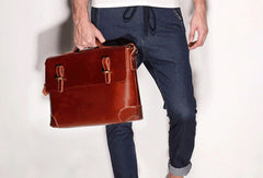 Cool leather mens Briefcases business Briefcase Shoulder Bag Laptop Briefcase