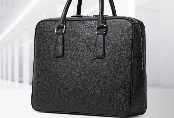 Leather mens Briefcase messenger Business Bag shoulder laptop bag